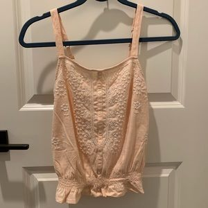 American Eagle | Peach Embroidered Tank
